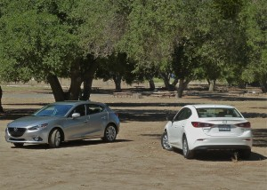 Mazda3 5-door hatchback, left, or sleek sedan is a tough choice.