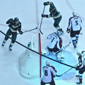 Ryan Suter continued behind the Colorado net after scoring for a 1-0 Minnesota lead at Xcel Center.