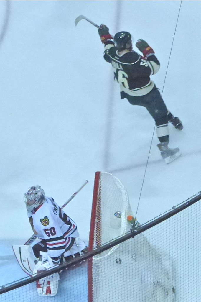 Wild center Erik Haula peeled off after beating Corey Crawford on a breakaway in Game 6.