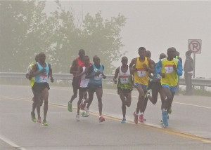 Dominic Ondoro wore No. 1 and led 11 East Africans out of the fog at Grandma's Marathon.