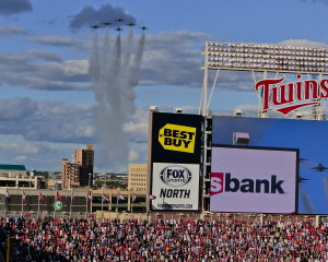 Air Force Thunderbirds started All-Star Game with a flyover at Target Field.