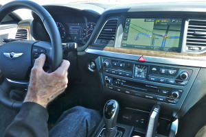 Instrumentation includes nav screen big enough to split, in luxury setting.