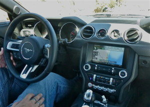 Mustang GT console features a larger information screen and Ford's latest SYNC connectivity.