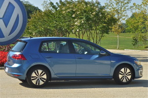 Special wheels and tires denote the e-Golf, a plug-in electric model with a 90-mile range.