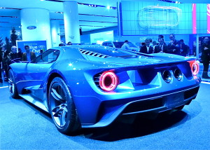 Dramatic rear styling fits the high-tech look of the Ford GT, which will be available in 2016.