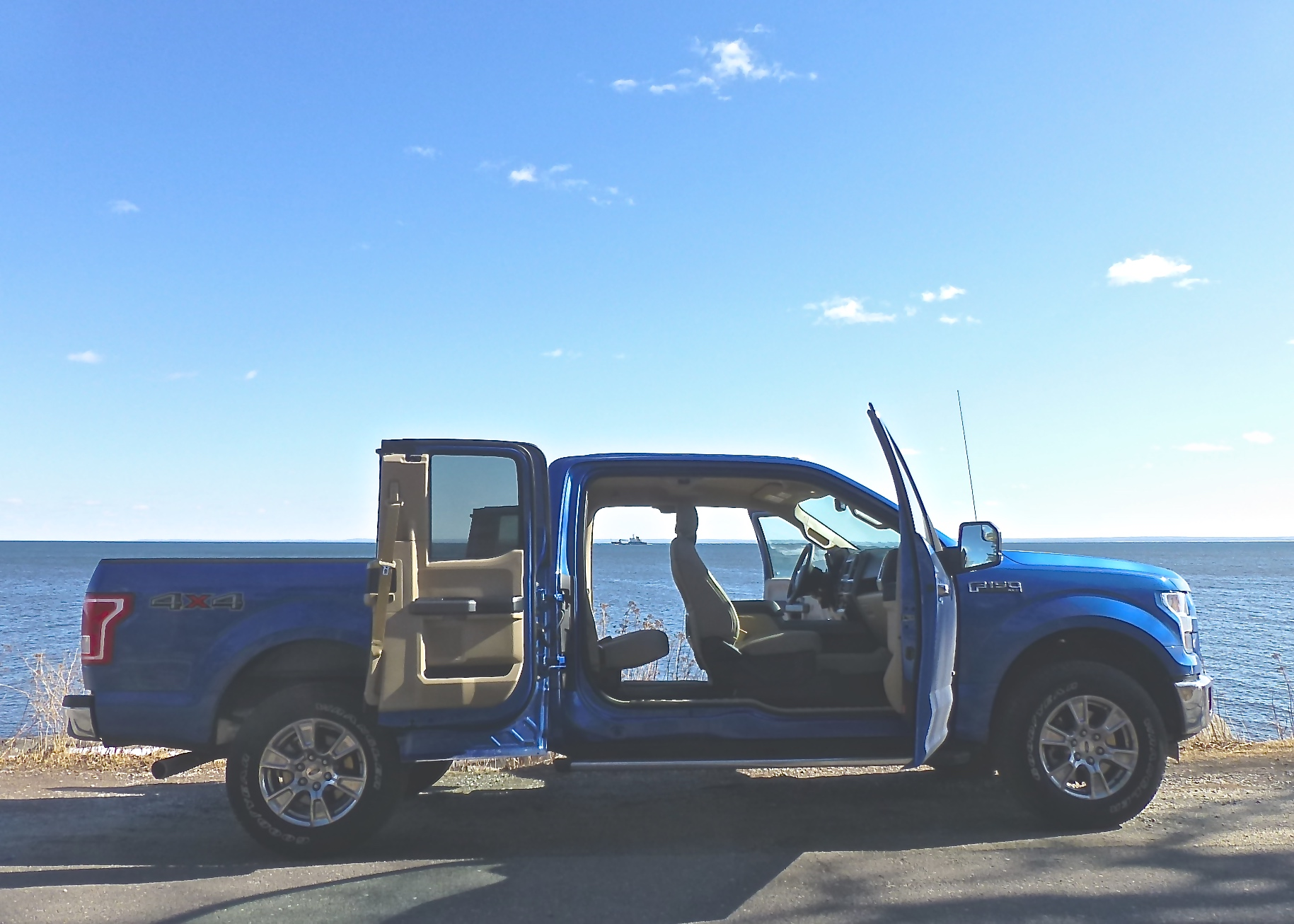 F-150 SuperCab features wide-opening rear doors, no pillar.