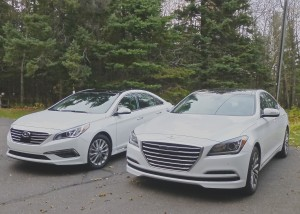 New Sonata, left, and Genesis look similar enough to be joint halo cars for Hyundai.