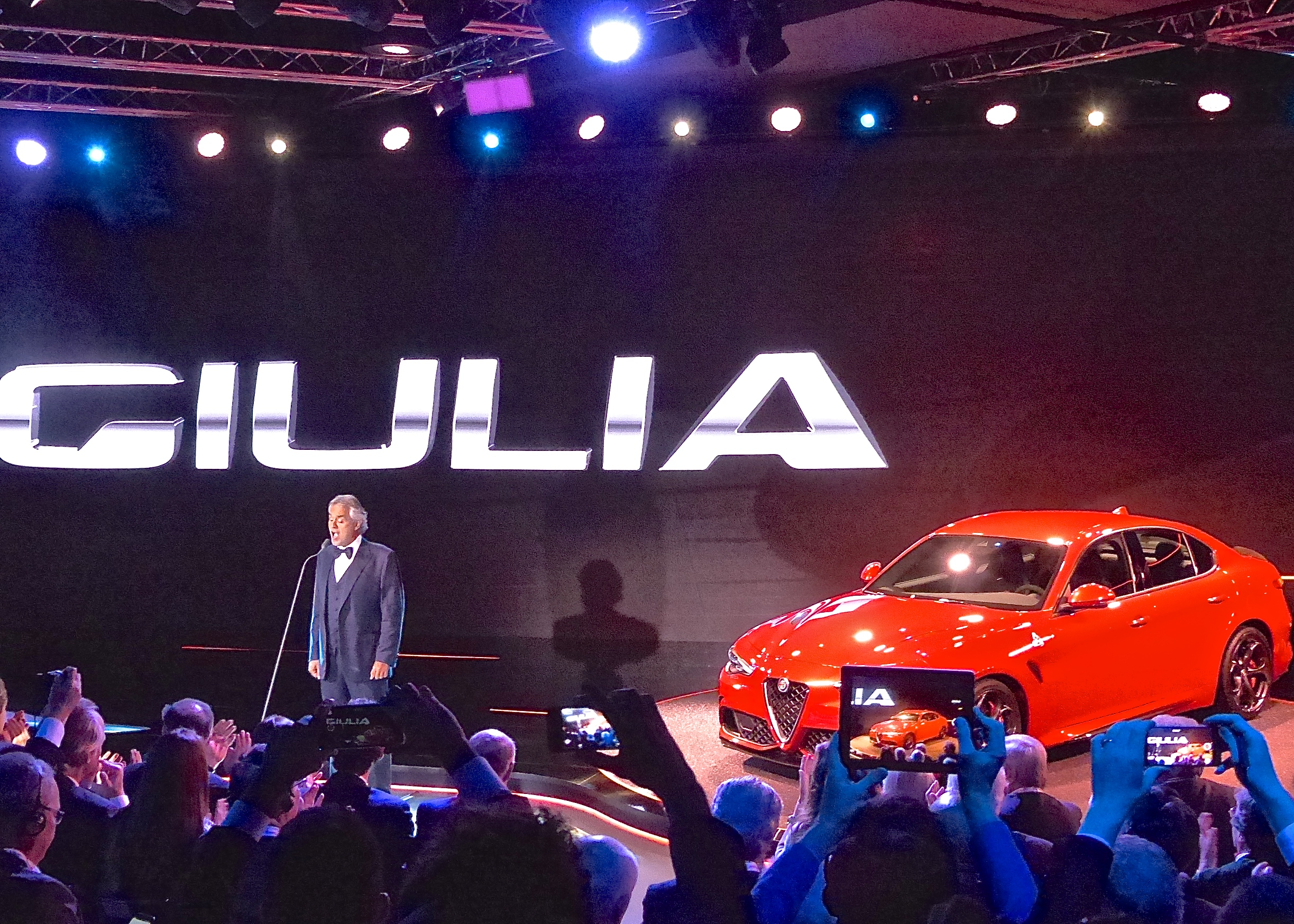 Alfa Romeo invoked superstar tenor Andrea Bocelli to serenade the media and accompany the introduction of the Giulia.