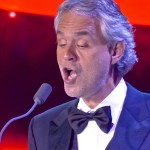 Blind tenor Andrea Bocelli recited a poem he had written, then sang an operatic Italian classic.