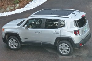 Front half of Renegade's huge sunroof opens or pops out.