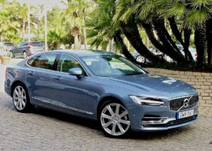 An S90 leaves Kempinski Resort for its initial road test.