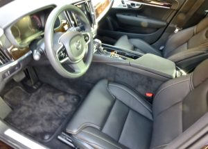 Basic grey leather seats adorn the basic Volvo S90, and might be preferred by many.
