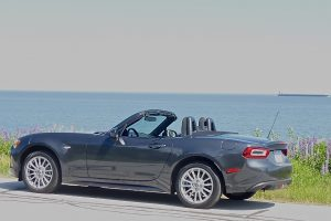With Lake Superior as a backdrop, the flowing lines of the Fiat 124 Spider is at home.