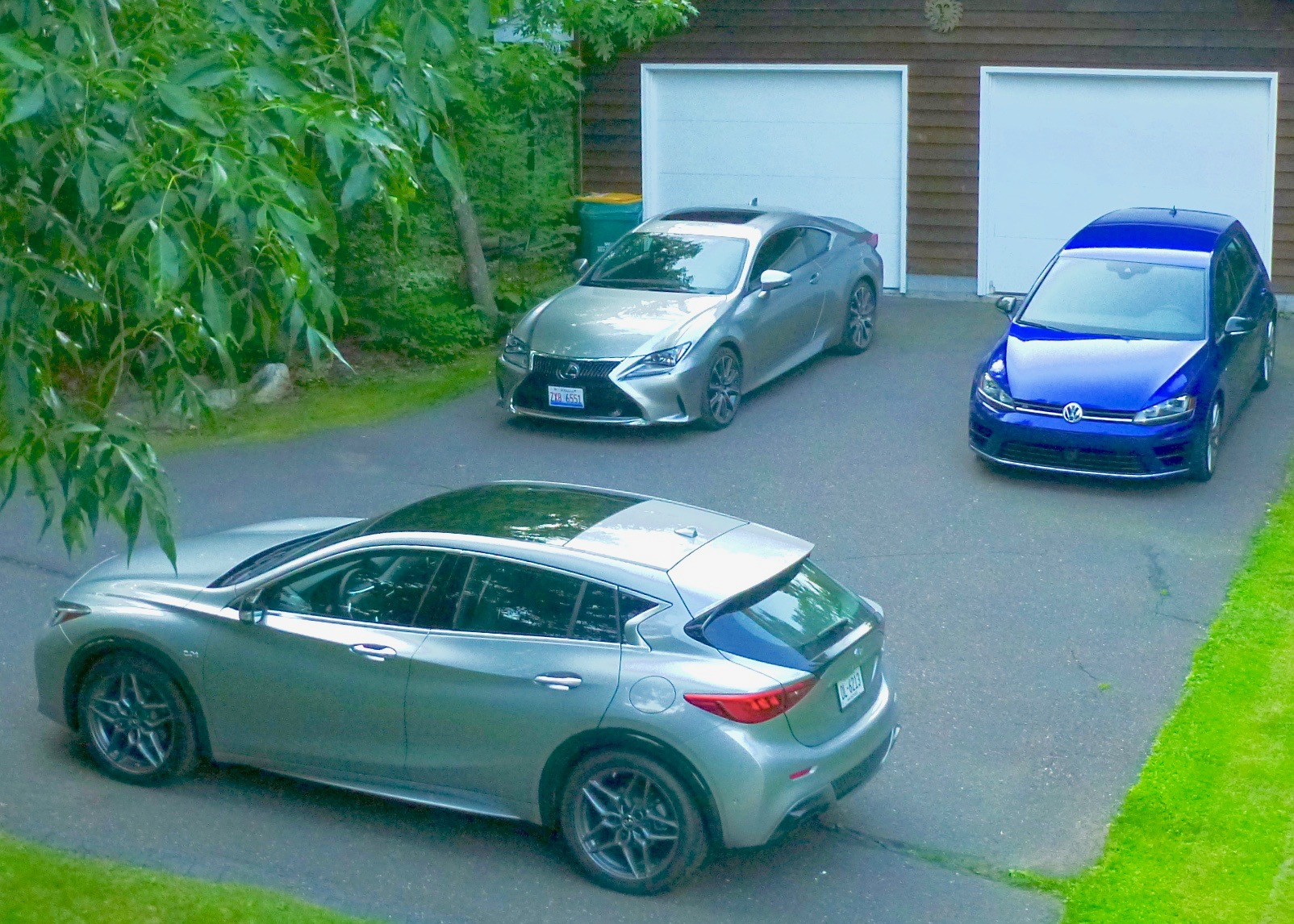 Sporty SUV is Infiniti QX-30 in foreground; sleek sports coupe is Lexus RC350 left rear; latest version of hot hatchback is Volkswagen Golf R, upper right.