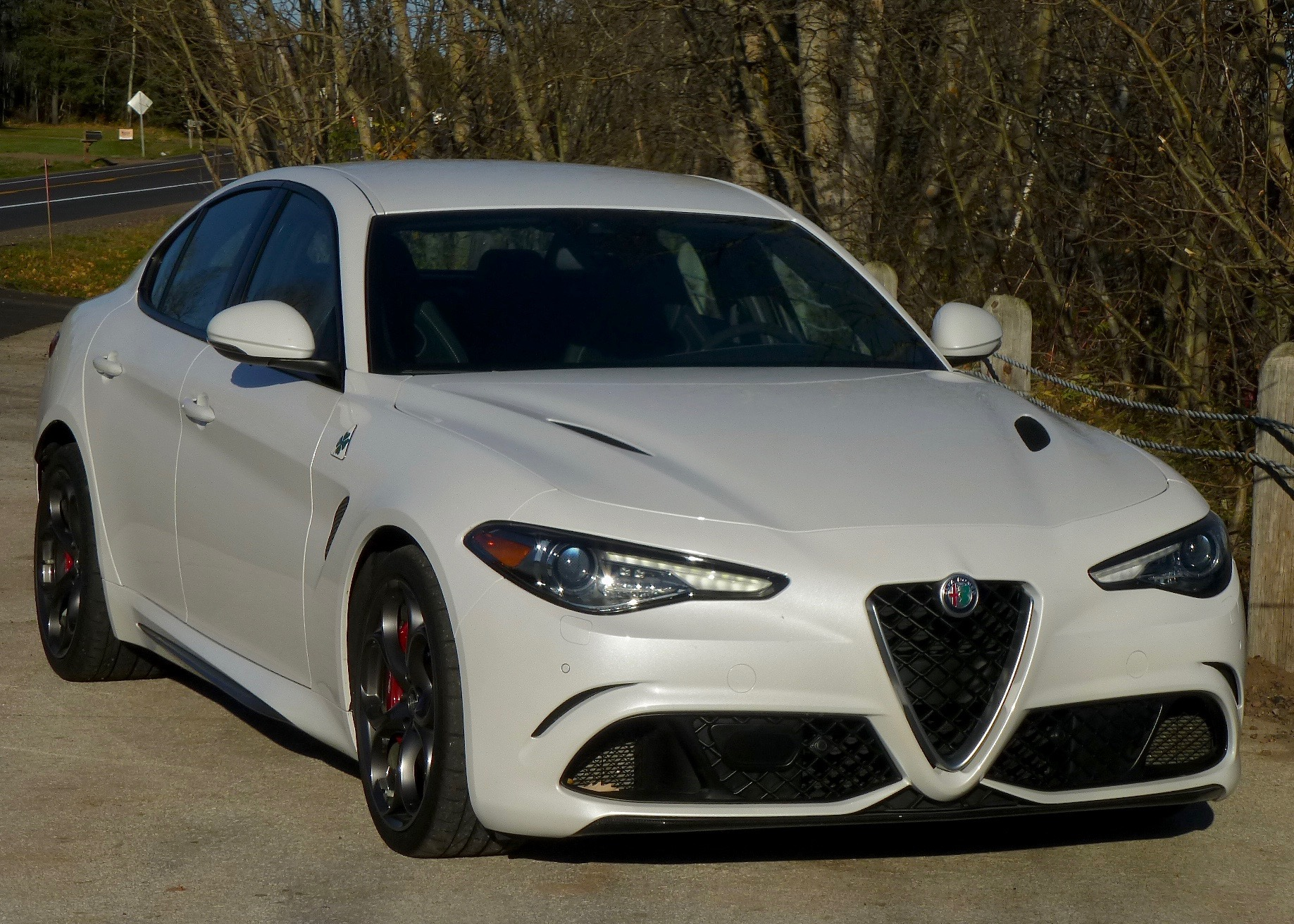 Gleaming pearlescent white paint is almost as distinctive as the Giulia's signature red.