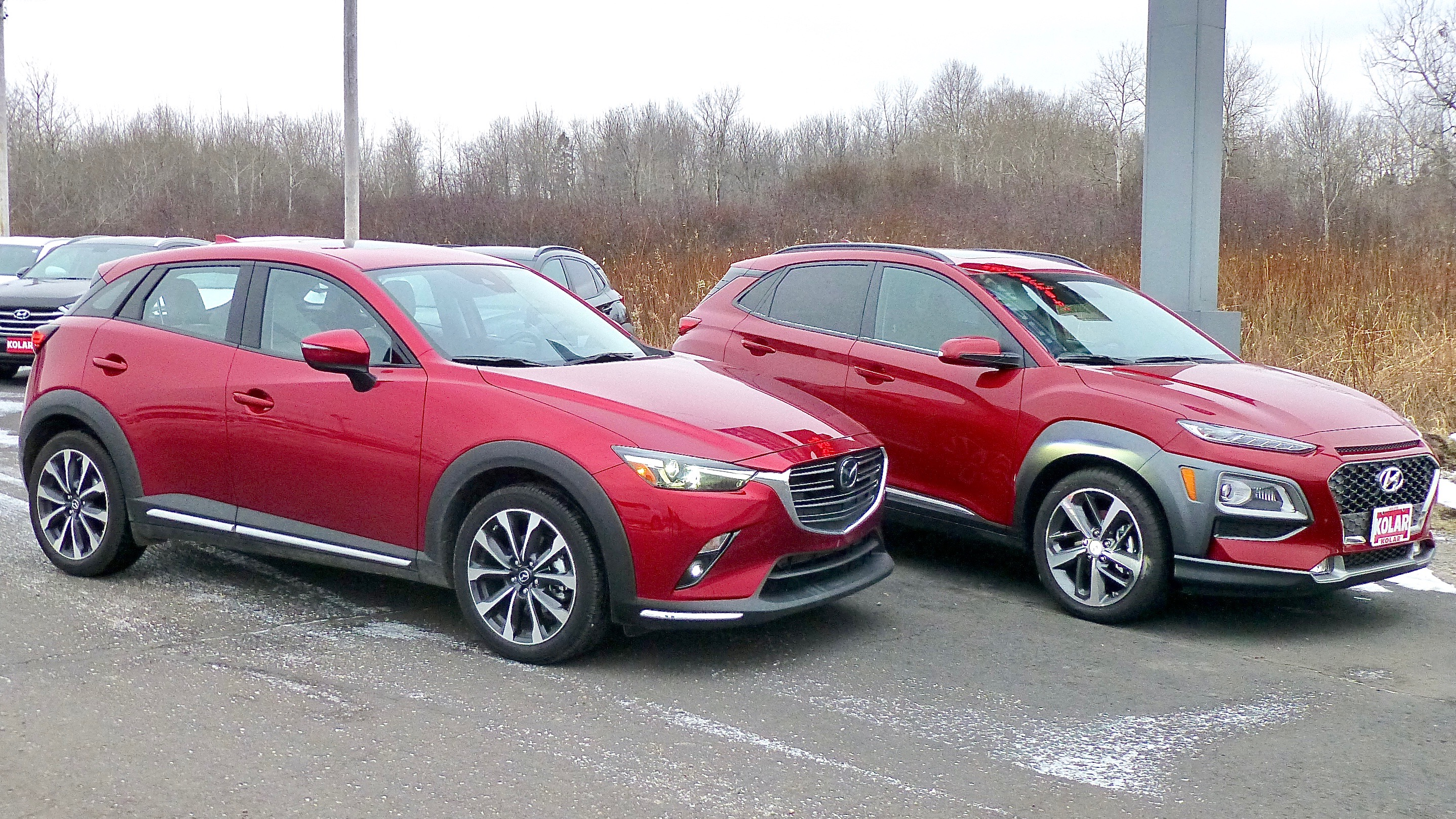 Two Of The Best Inexpensive But High Tech Compact Suvs Are Mazda Cx 3 Left And Hyundai Kona
