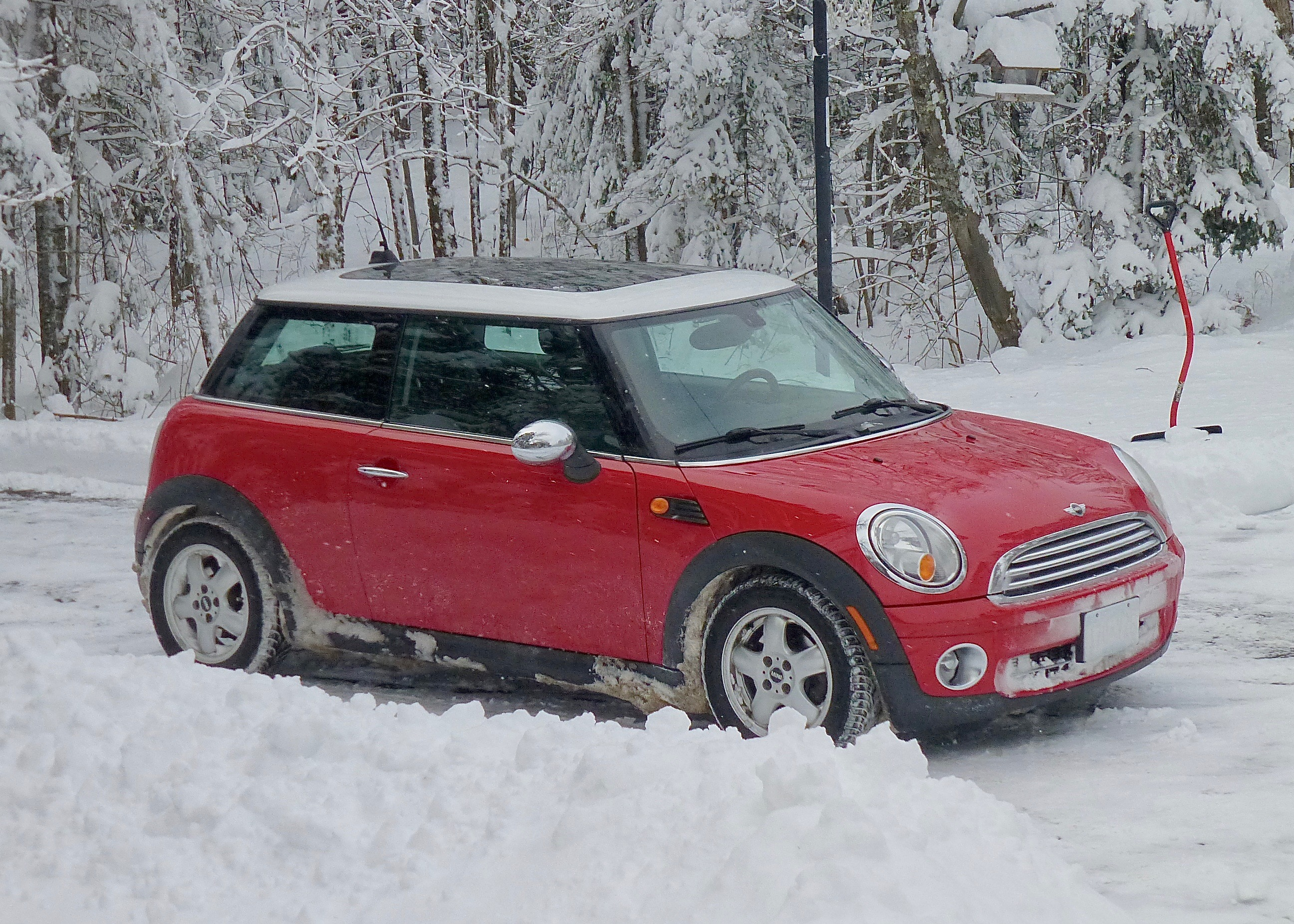 Trusty 2007 family Mini Cooper proved loyal conveyance through all-night blizzard.