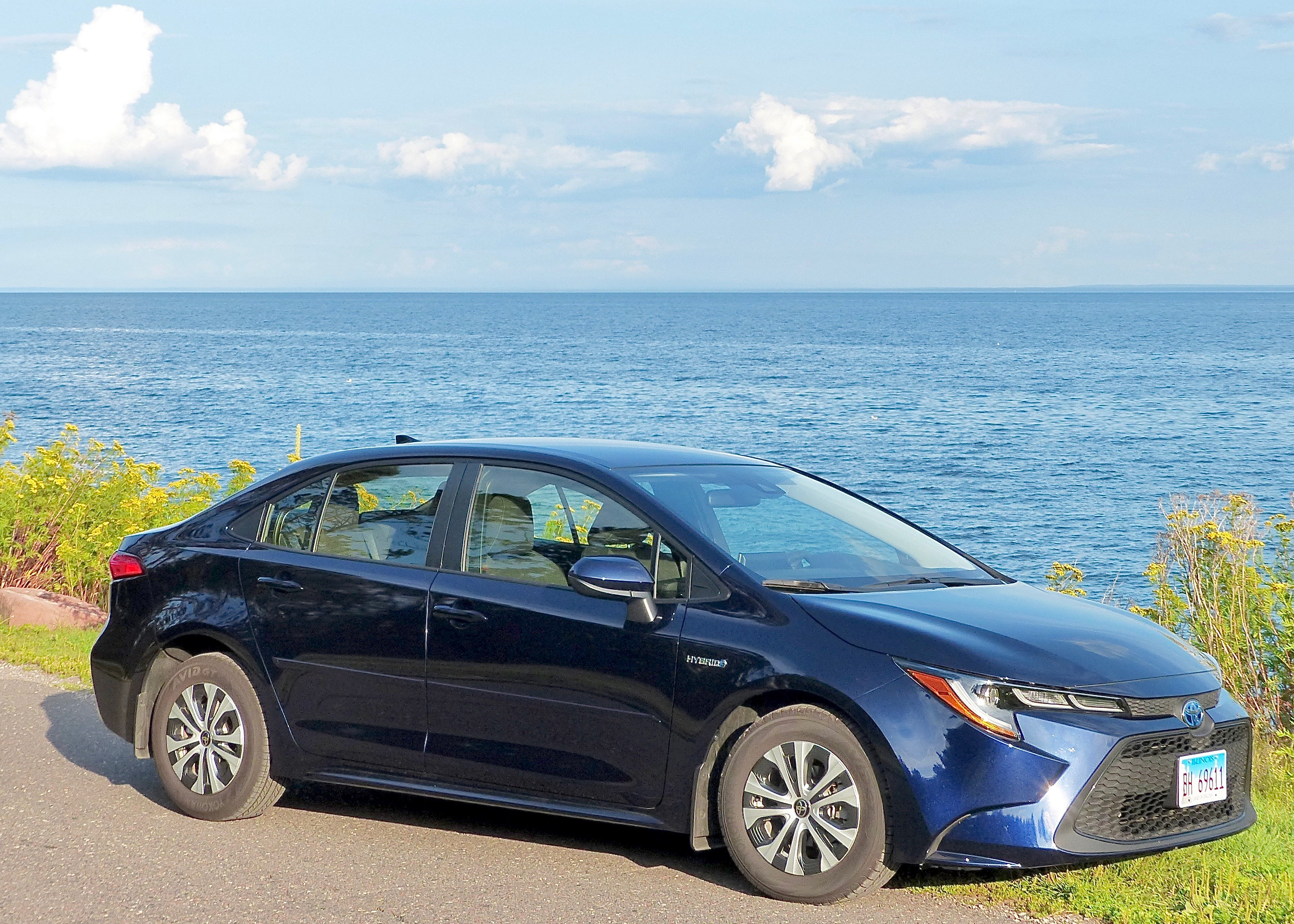 Blue of 2020 Corolla Hybrid blends with Lake Superior blue.